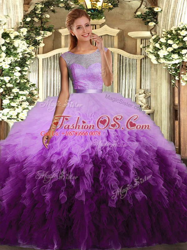 Floor Length Multi-color Quinceanera Dresses Organza Sleeveless Ruffles