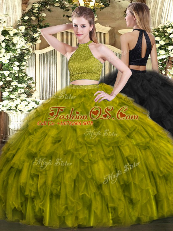 Olive Green Sleeveless Beading and Ruffles Floor Length Quinceanera Gowns