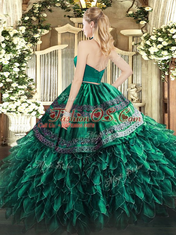 Pretty Sleeveless Floor Length Appliques and Ruffles Zipper Ball Gown Prom Dress with Dark Green