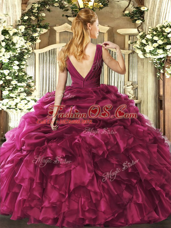 Charming Floor Length Backless Vestidos de Quinceanera Blue for Sweet 16 and Quinceanera with Beading and Ruffles