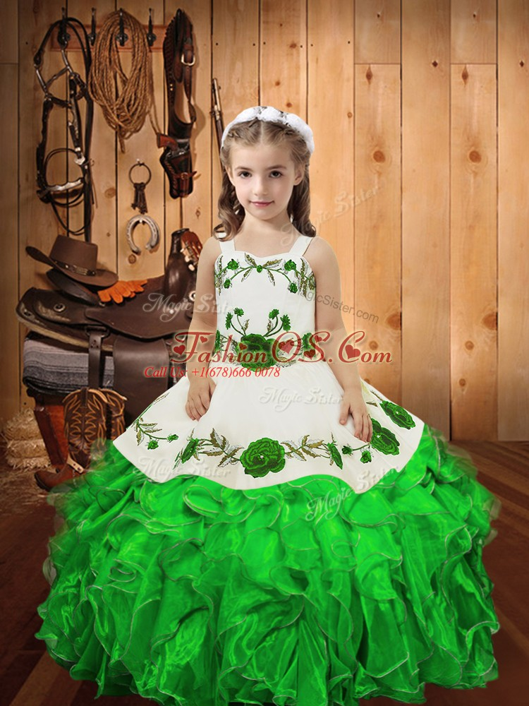 Straps Sleeveless Little Girl Pageant Dress Floor Length Embroidery and Ruffles Green Organza