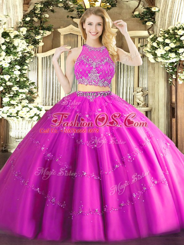 Fashionable Fuchsia Two Pieces Tulle Scoop Sleeveless Beading Floor Length Zipper Quinceanera Dresses