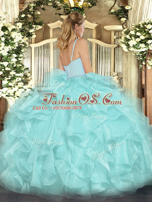 Sleeveless Floor Length Beading and Ruffles Zipper Ball Gown Prom Dress