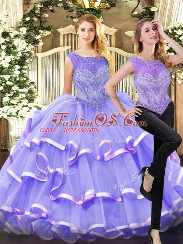 Lavender Quinceanera Dresses Military Ball and Sweet 16 and Quinceanera with Beading and Ruffled Layers Scoop Sleeveless Lace Up