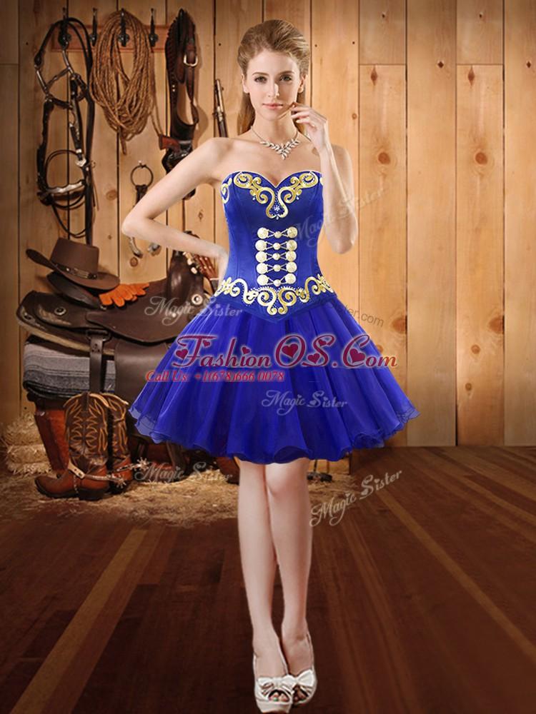 Royal Blue Sleeveless Embroidery Mini Length Dress for Prom