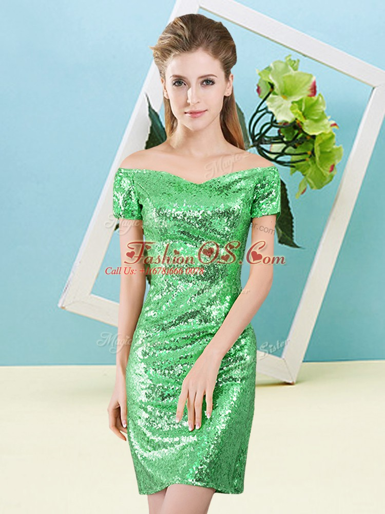 Lovely Off The Shoulder Short Sleeves Evening Dress Mini Length Sequins Green Sequined