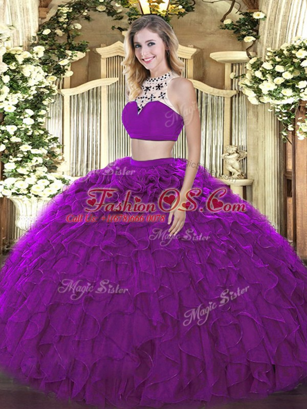 Clearance Purple Halter Top Backless Beading and Ruffles Sweet 16 Dresses Sleeveless