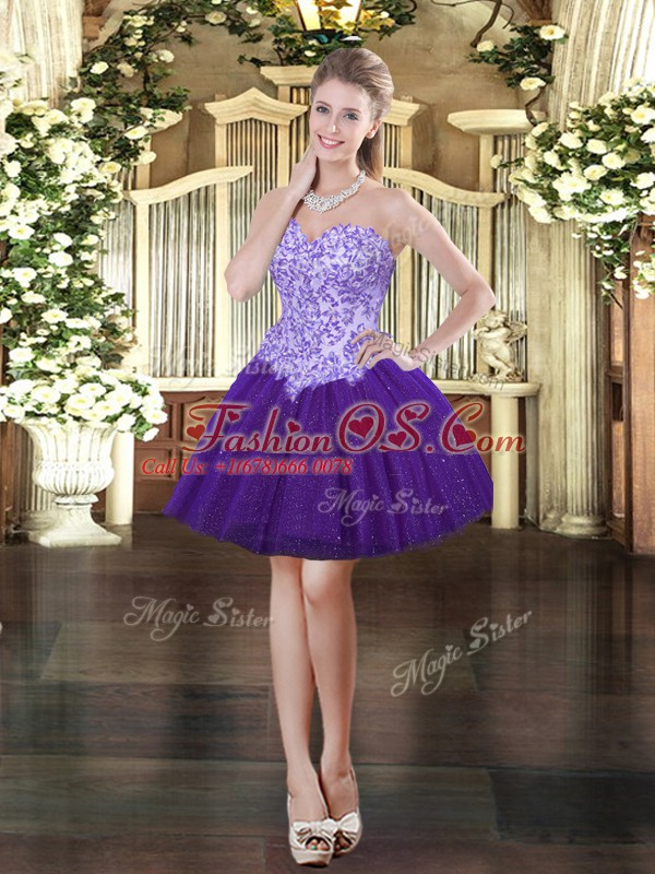 Purple Lace Up Sweetheart Appliques Prom Evening Gown Tulle Sleeveless