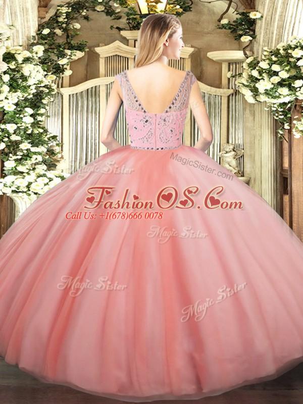 Great Tulle Sleeveless Floor Length Sweet 16 Dress and Beading