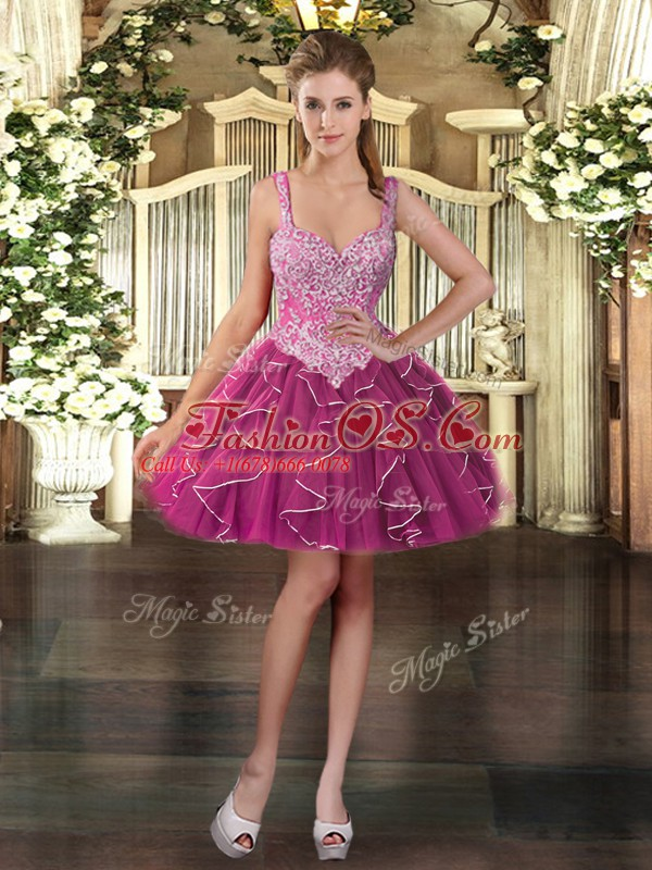 Nice Fuchsia Lace Up Straps Beading and Ruffles Quinceanera Dress Tulle Sleeveless
