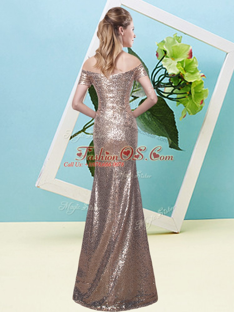 Flare Floor Length Zipper Prom Dress for Prom and Party with Sequins