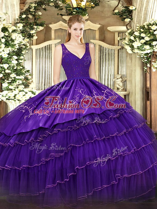 V-neck Sleeveless Vestidos de Quinceanera Floor Length Beading and Embroidery and Ruffled Layers Purple Satin and Tulle