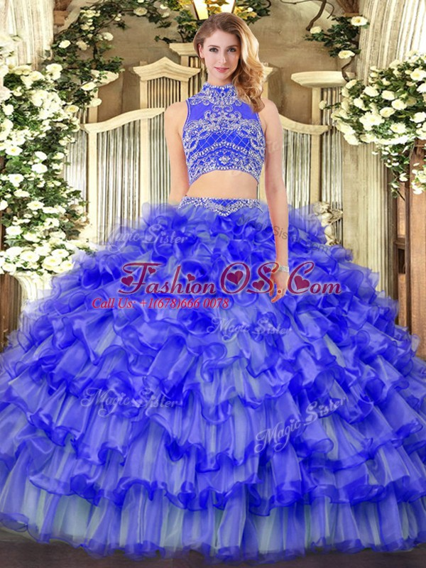 Shining Beading and Ruffled Layers Sweet 16 Quinceanera Dress Blue Backless Sleeveless Floor Length