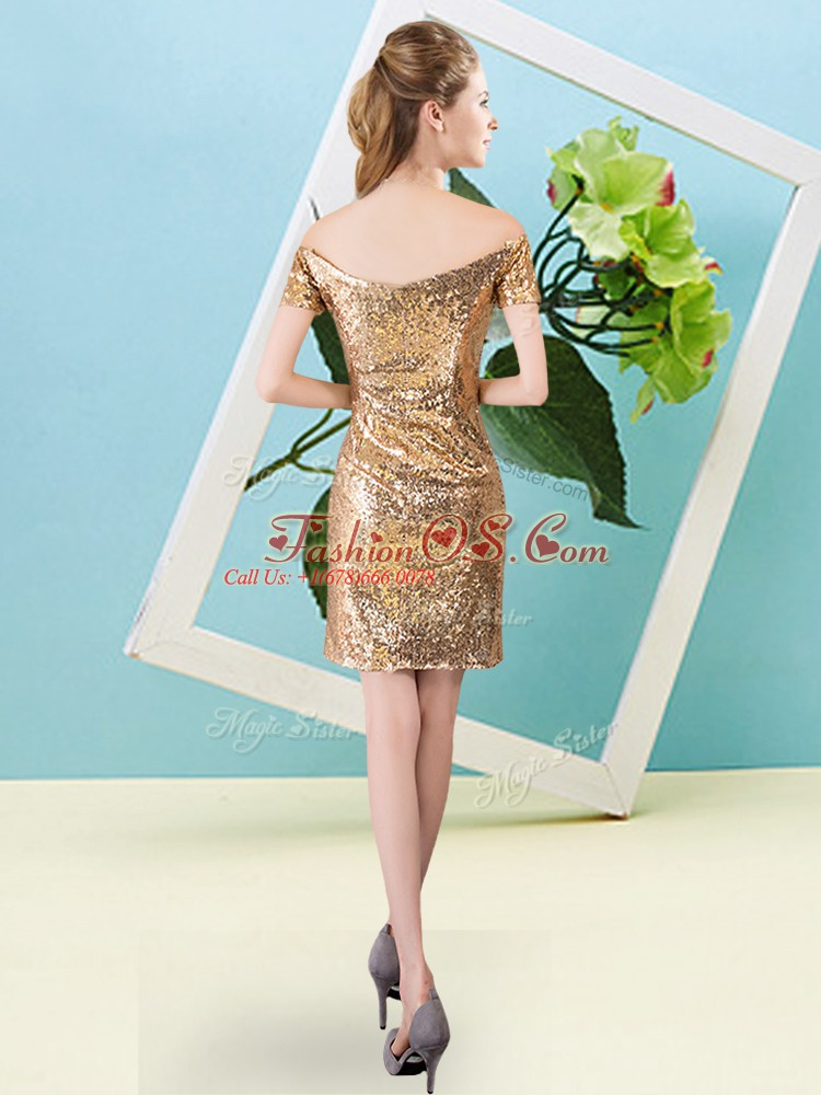 Orange Column/Sheath Sequins Zipper Sequined Short Sleeves Mini Length