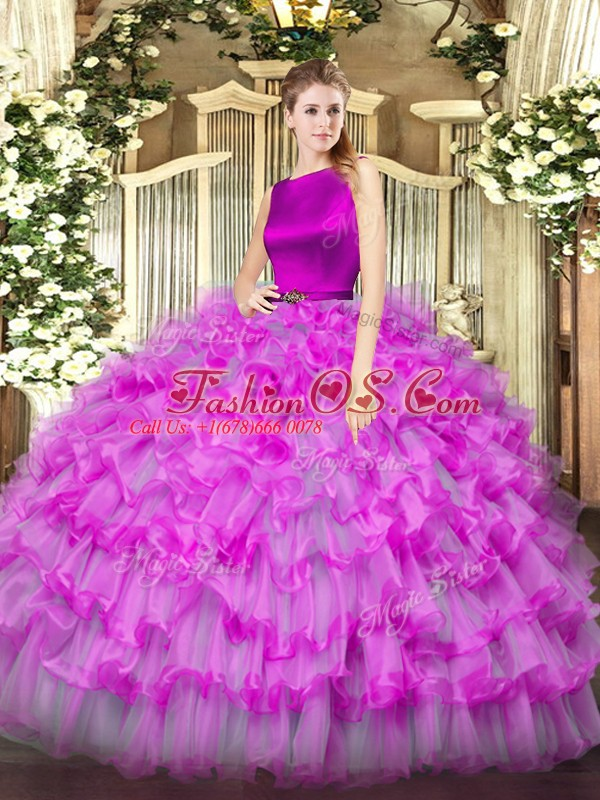 Scoop Sleeveless Ball Gown Prom Dress Floor Length Ruffled Layers Fuchsia Organza