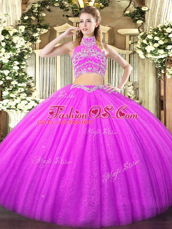 Floor Length Lilac Ball Gown Prom Dress Tulle Sleeveless Beading