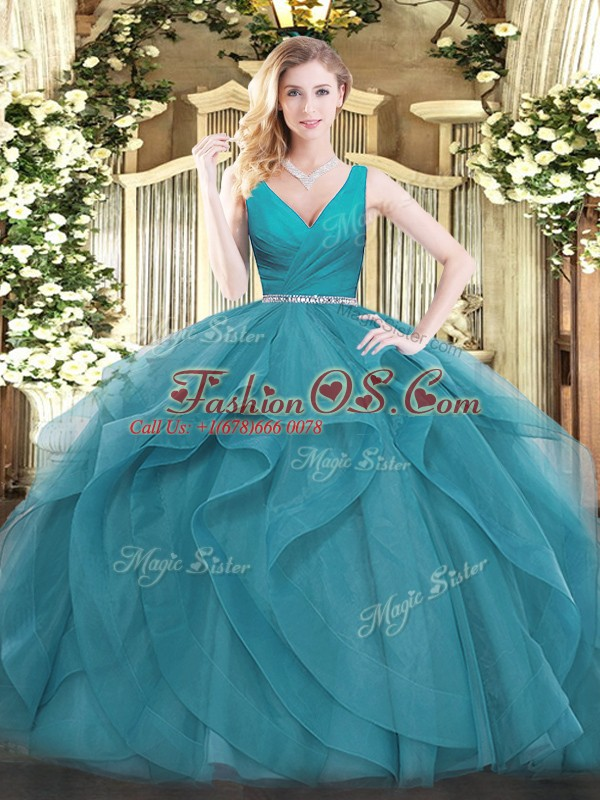 Chic Teal Ball Gowns V-neck Sleeveless Tulle Floor Length Zipper Beading and Ruffles Quinceanera Dresses