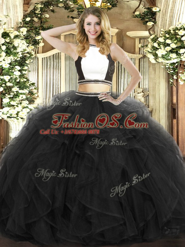 Latest Black Sleeveless Tulle Backless Ball Gown Prom Dress for Military Ball and Sweet 16 and Quinceanera