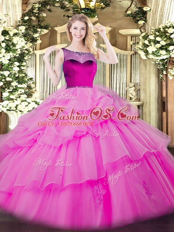 Custom Designed Lilac Sleeveless Floor Length Beading and Appliques and Pick Ups Zipper Quinceanera Gown