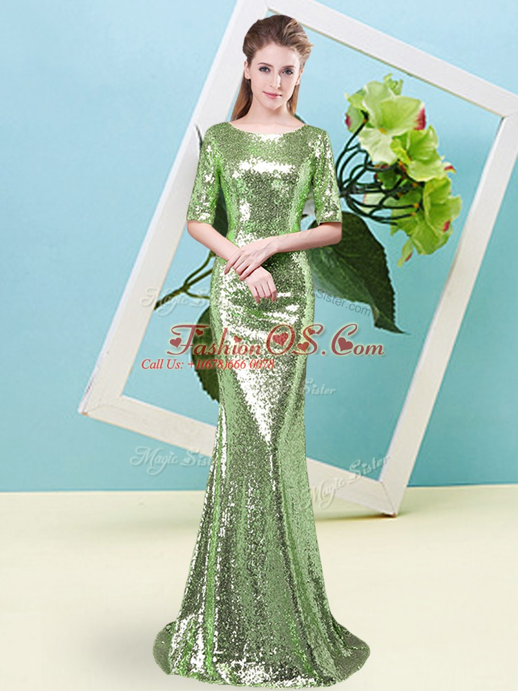 Glamorous Half Sleeves Sequined Floor Length Zipper Prom Evening Gown in with Sequins