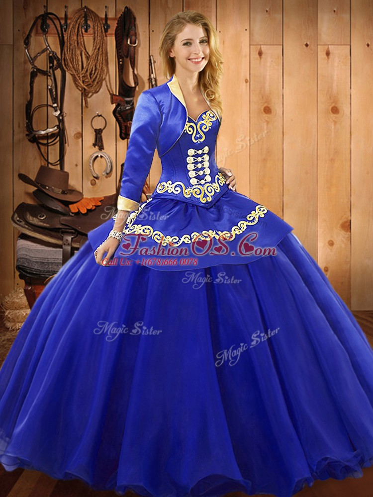 Super Blue Ball Gowns Sweetheart Sleeveless Tulle Floor Length Lace Up Ruffles Sweet 16 Dress