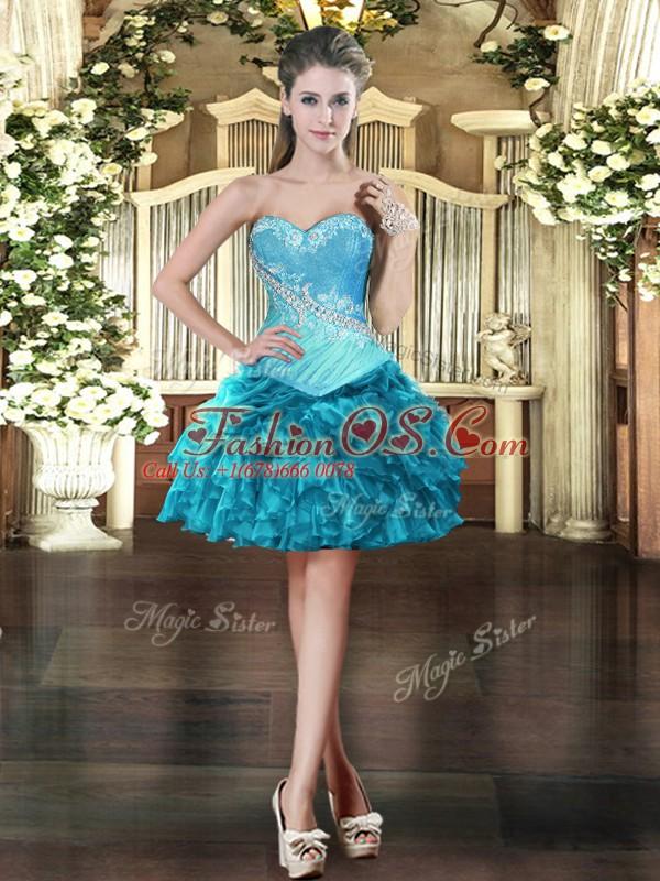 Beading Prom Dresses Teal Lace Up Sleeveless Mini Length
