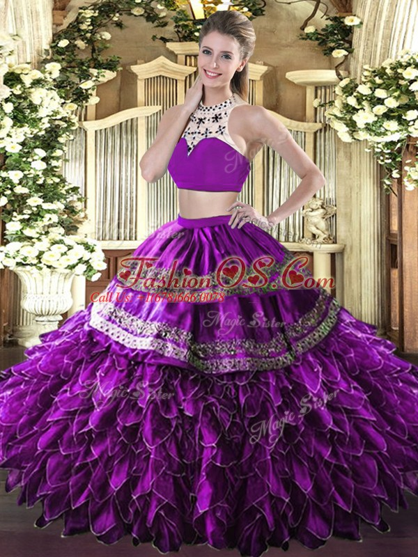 Romantic Sleeveless Backless Floor Length Beading and Ruffles Quinceanera Dress