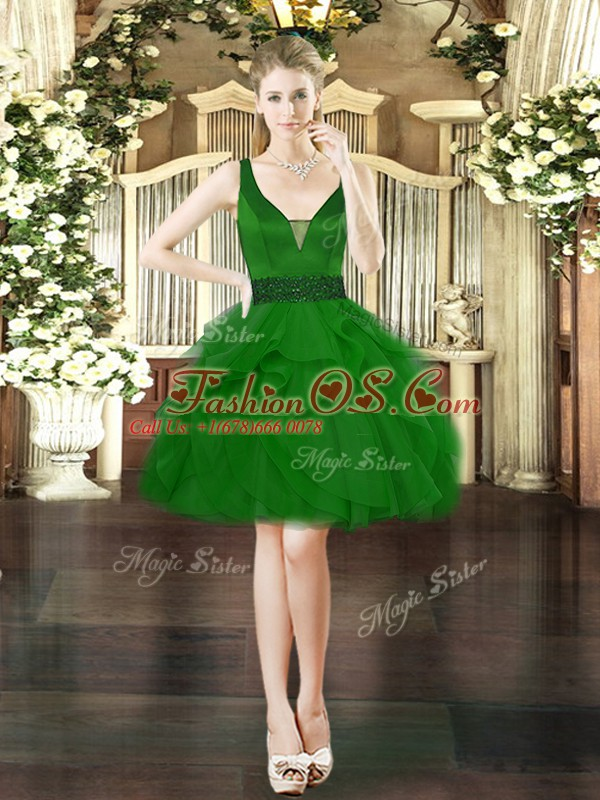 Decent Tulle Sleeveless Mini Length Dress for Prom and Beading and Ruffles