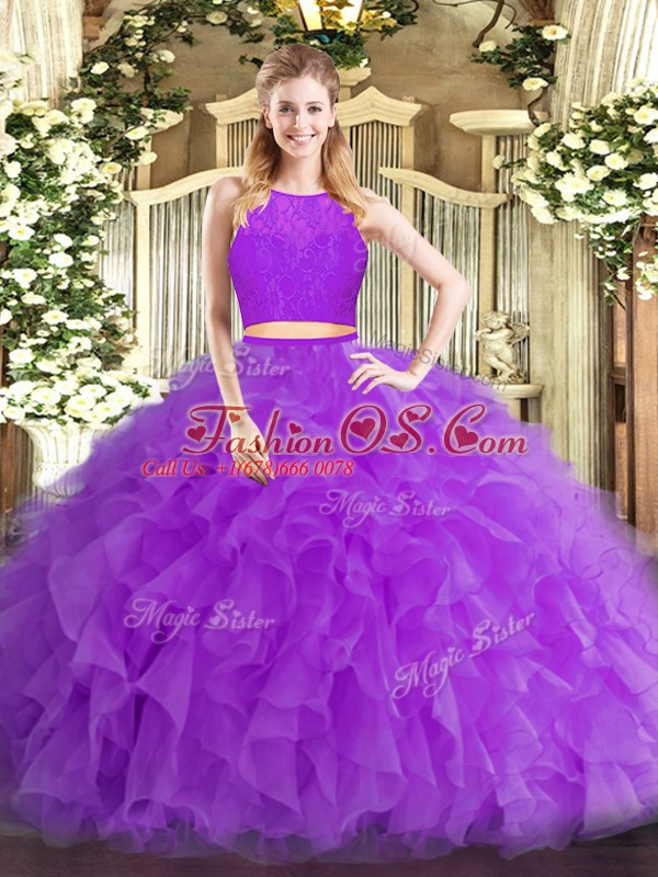 Top Selling Two Pieces 15 Quinceanera Dress Eggplant Purple Scoop Tulle Sleeveless Floor Length Zipper