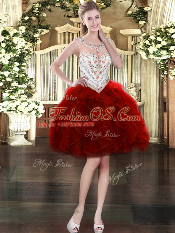 Scoop Sleeveless Zipper Quinceanera Gown Wine Red Tulle