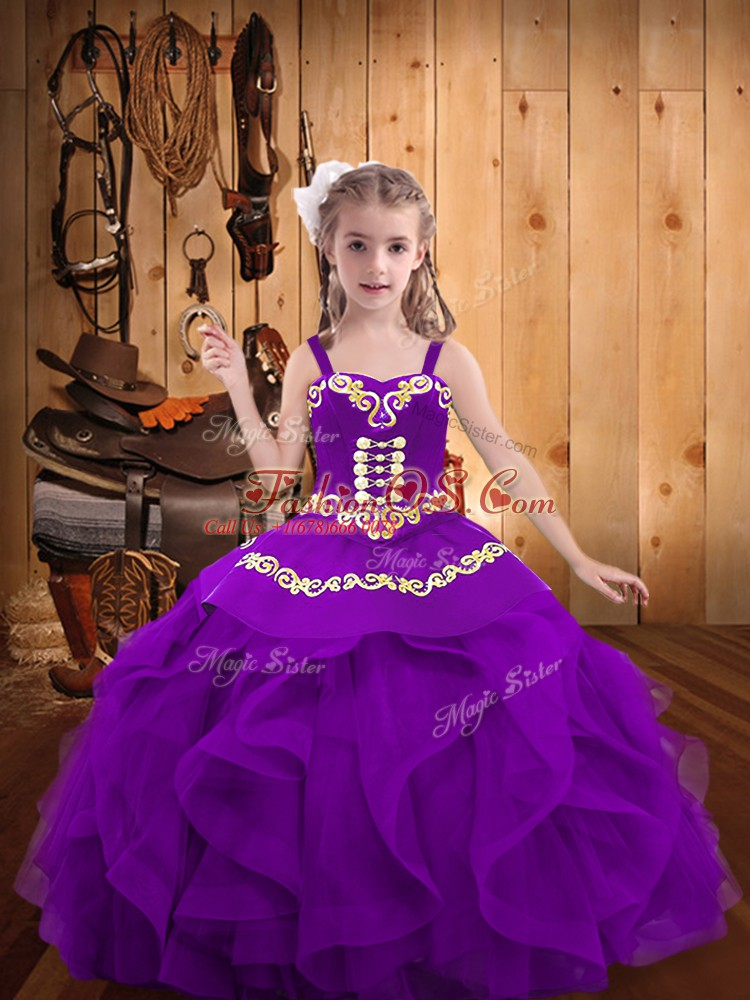 Latest Floor Length Lace Up High School Pageant Dress Eggplant Purple for Party and Sweet 16 and Quinceanera and Wedding Party with Embroidery and Ruffles