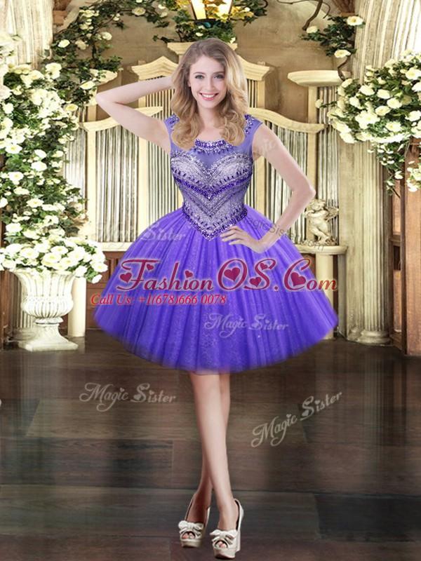 Mini Length Ball Gowns Sleeveless Lavender Evening Dress Zipper