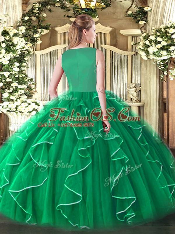 Dynamic Fuchsia Organza Side Zipper Ball Gown Prom Dress Sleeveless Floor Length Beading and Ruffles
