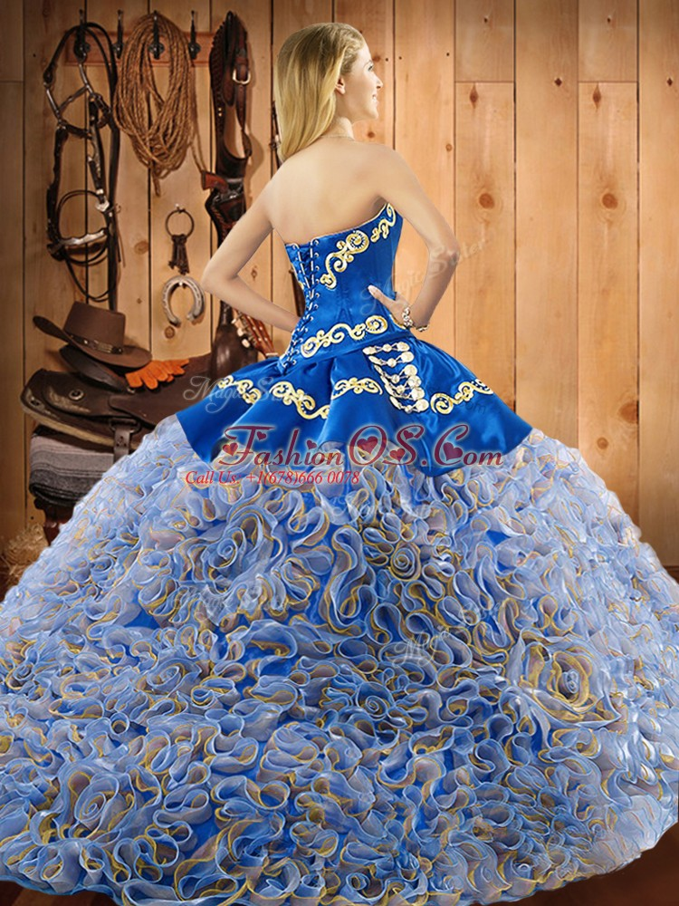 Trendy Multi-color Ball Gowns Sweetheart Sleeveless Satin and Fabric With Rolling Flowers With Train Sweep Train Lace Up Embroidery Quinceanera Gown