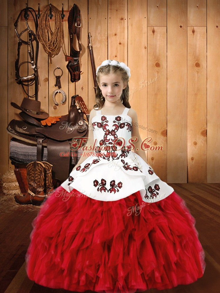 Beautiful Red Organza Lace Up Straps Sleeveless Floor Length High School Pageant Dress Embroidery and Ruffles