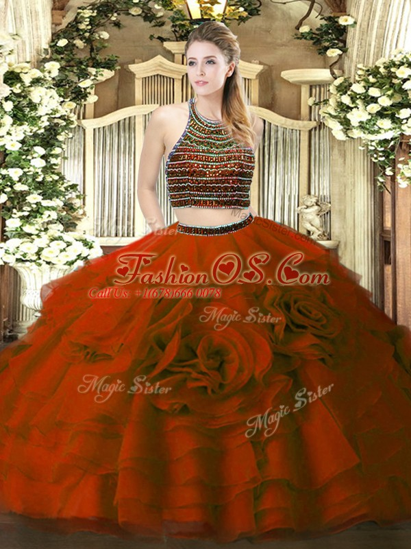 Floor Length Wine Red Quinceanera Gown Tulle Sleeveless Beading and Ruffled Layers