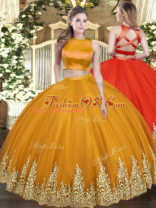 Trendy Orange Quinceanera Gown Military Ball and Sweet 16 and Quinceanera with Appliques High-neck Sleeveless Criss Cross