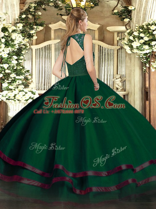 Inexpensive Floor Length A-line Sleeveless Dark Green Vestidos de Quinceanera Zipper