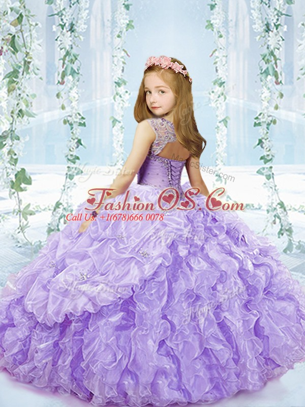 Inexpensive Lavender Sleeveless Floor Length Beading and Ruffles and Pick Ups Lace Up Little Girls Pageant Gowns