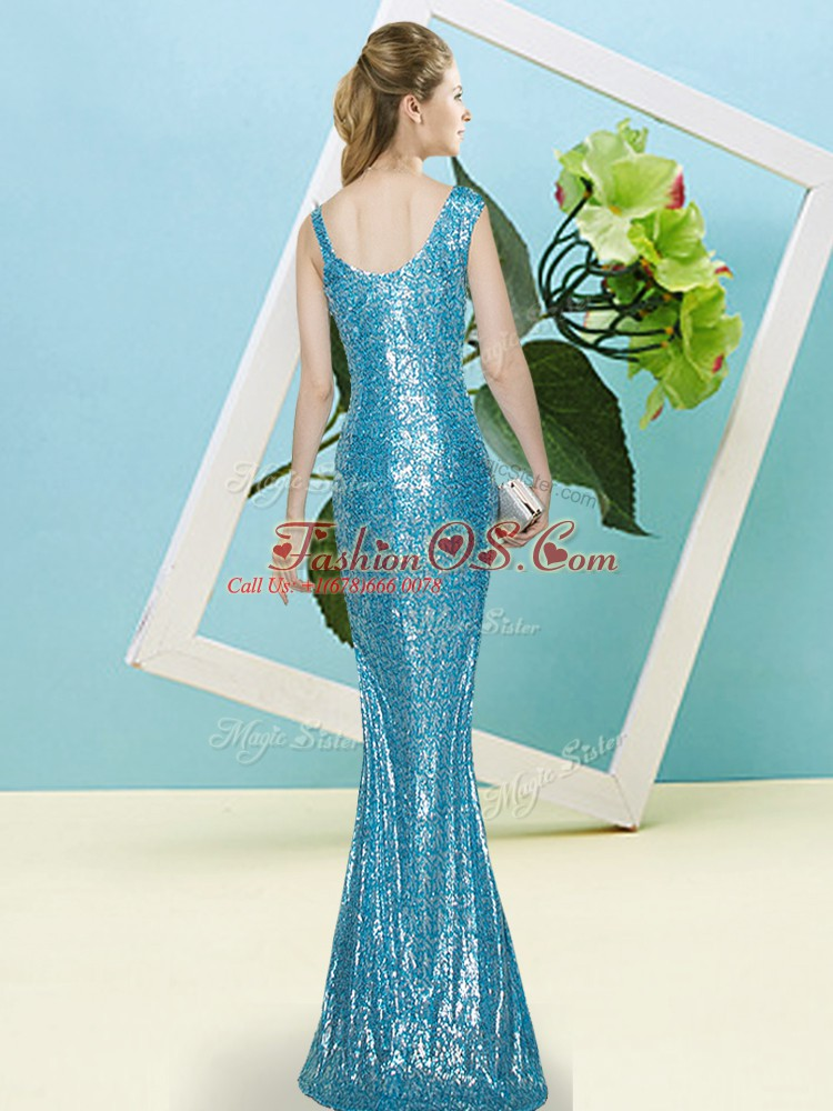 On Sale Lavender Mermaid Asymmetric Sleeveless Sequined Floor Length Zipper Sequins Prom Evening Gown