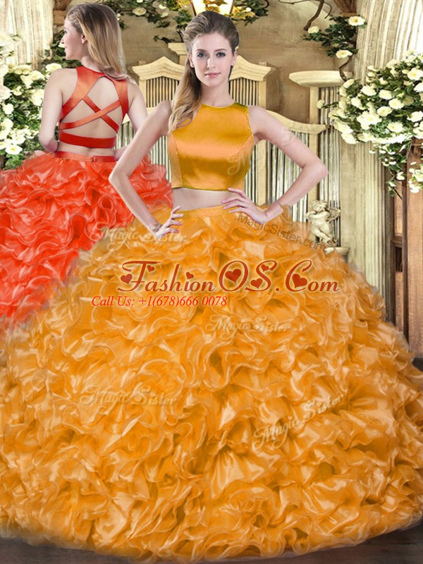 Elegant Orange Red Tulle Criss Cross High-neck Sleeveless Floor Length Sweet 16 Quinceanera Dress Ruffles