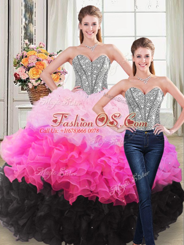 Cute Multi-color Lace Up Quinceanera Dress Beading and Ruffles Sleeveless Floor Length