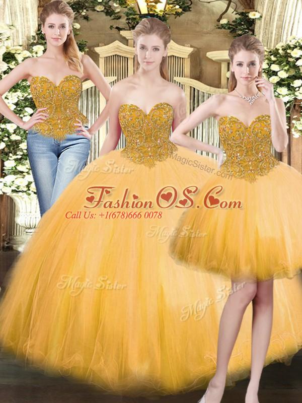 Glittering Gold Sleeveless Beading Floor Length Sweet 16 Dress