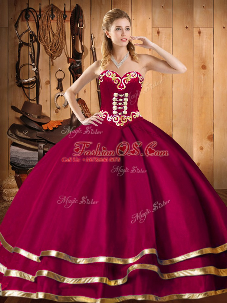 Luxury Sweetheart Sleeveless Sweet 16 Quinceanera Dress Floor Length Embroidery and Ruffles Wine Red Organza