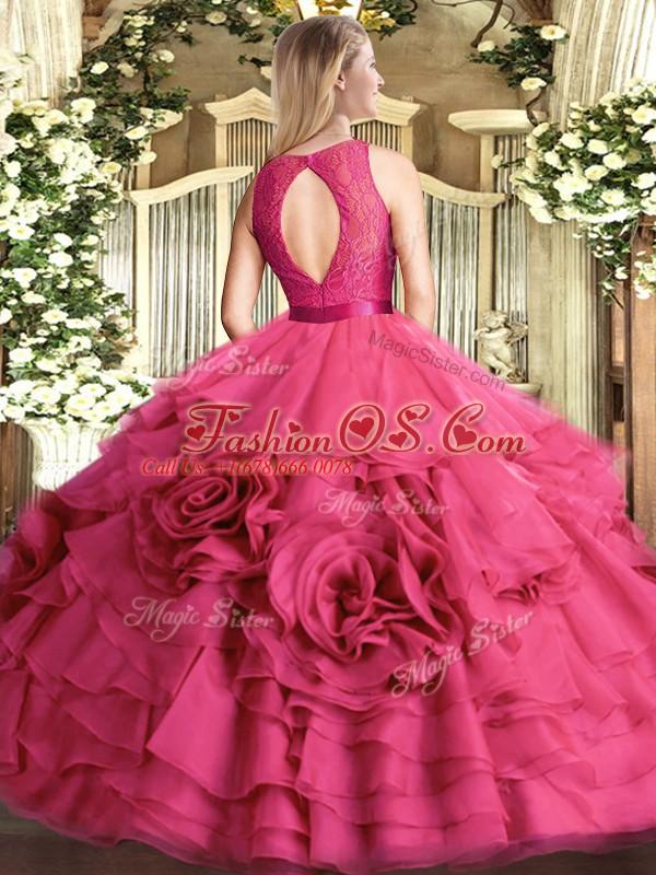Shining Fuchsia Fabric With Rolling Flowers Zipper Scoop Sleeveless Floor Length Sweet 16 Dress Lace