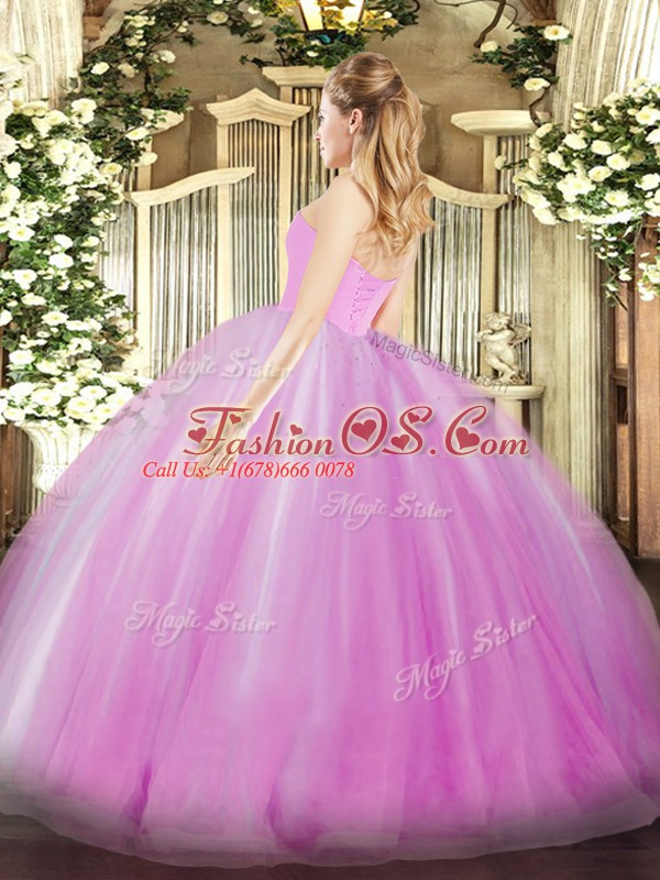 Top Selling Lavender Sleeveless Ruffles Floor Length Quinceanera Gown