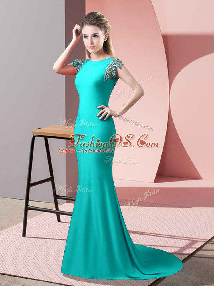 Fine Turquoise Short Sleeves Elastic Woven Satin Brush Train Backless Prom Party Dress for Prom and Party