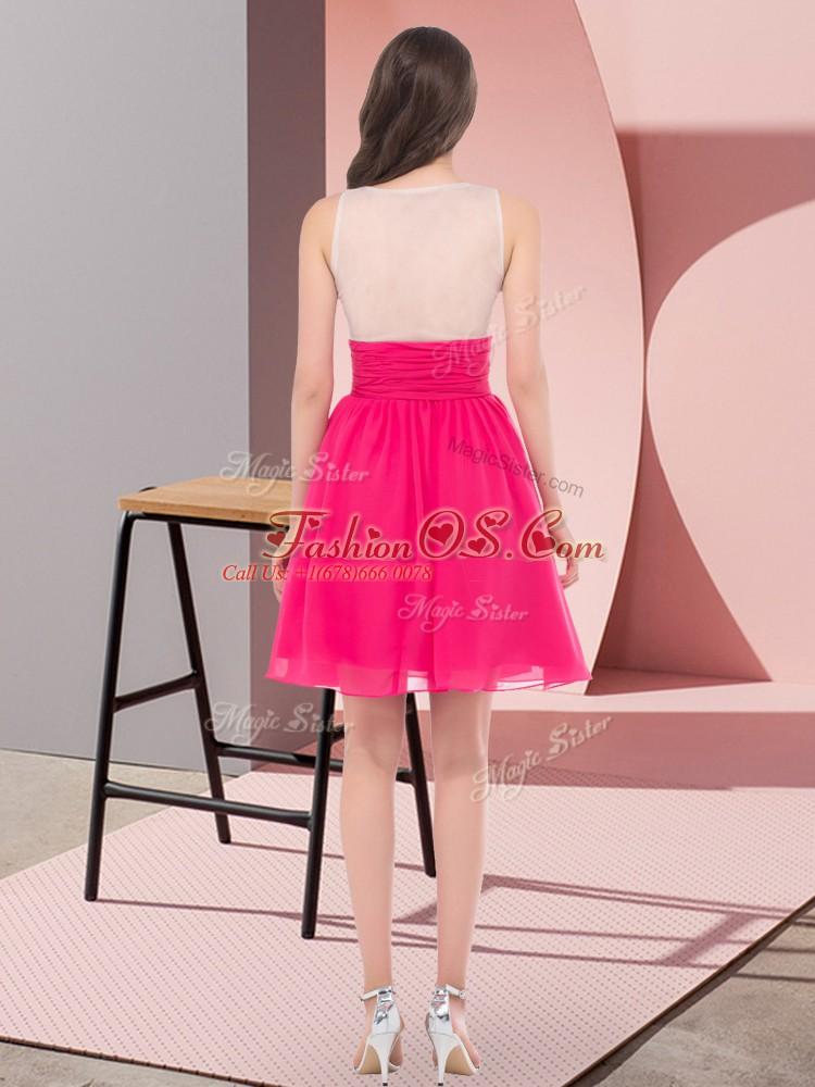 Scoop Sleeveless Chiffon Dama Dress Beading Side Zipper