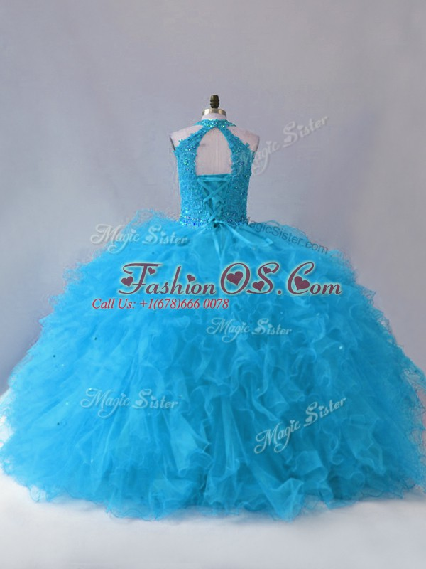 Sleeveless Floor Length Beading and Ruffles Lace Up Quinceanera Dresses with Blue