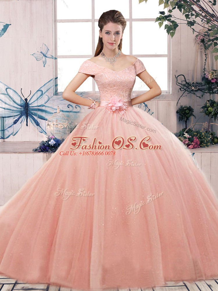 Tulle Off The Shoulder Short Sleeves Lace Up Lace and Hand Made Flower Quinceanera Dress in Pink